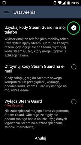 stream guard opcje