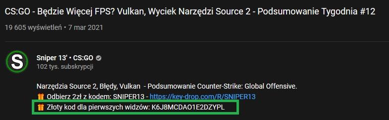 złoty kod key drop